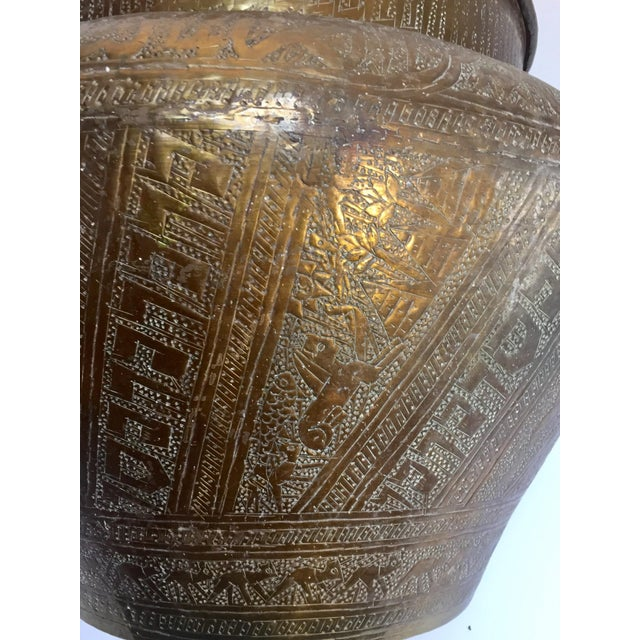 Egyptian Hebraique Revival Hand Etched Brass Pot Jardiniere For Sale - Image 11 of 12