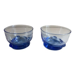 1940s Early Production Blenko Sky Blue Bowls - a Pair For Sale