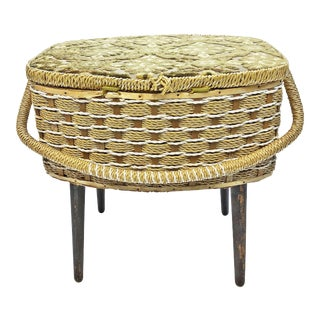 Mid Century Modern Wicker Sewing Basket with Legs & Handle For Sale