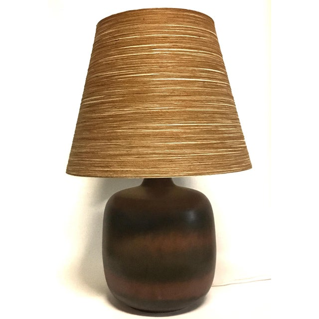 Red Lotte & Gunnar Bostlund Ceramic Lamp With Original Shade For Sale - Image 8 of 8