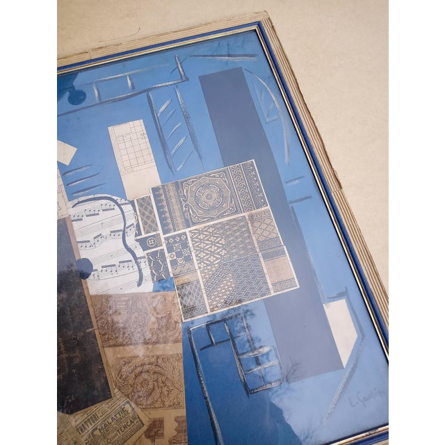 Late 20th Century Cubist Collage Featuring Instrument, Framed For Sale In Atlanta - Image 6 of 11