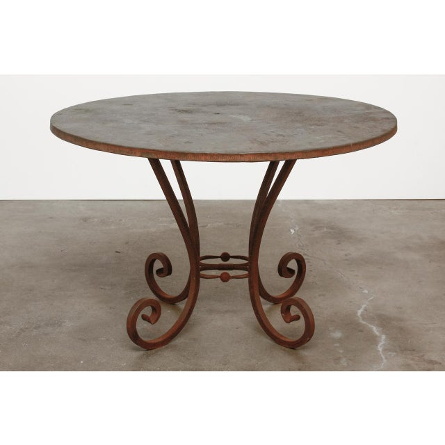 Late 20th Century Wrought Iron and Copper Round Dining Table For Sale - Image 5 of 12