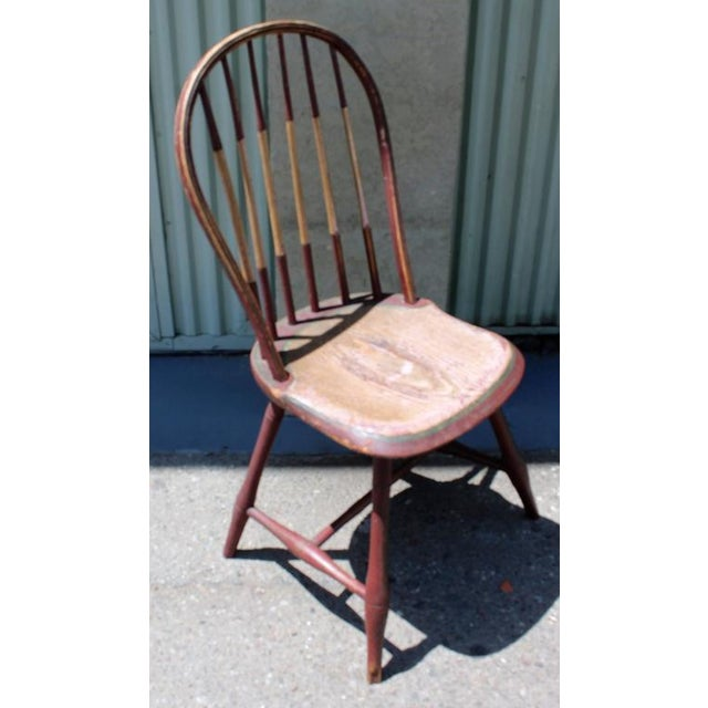 Americana Early 19Thc Original Paint Decorated Windsor Side Chair For Sale - Image 3 of 10