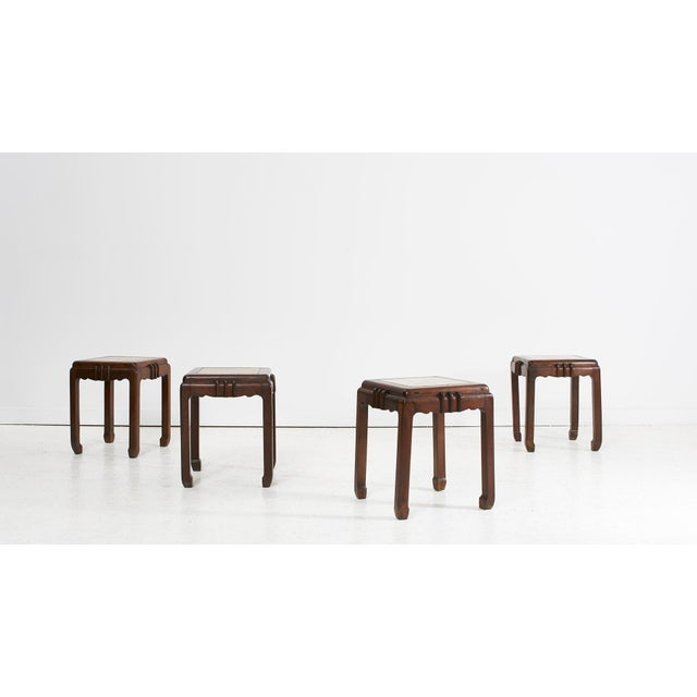 Art Deco 1930's Chinese Art Deco Rosewood (Hauli) Stools For Sale - Image 3 of 3