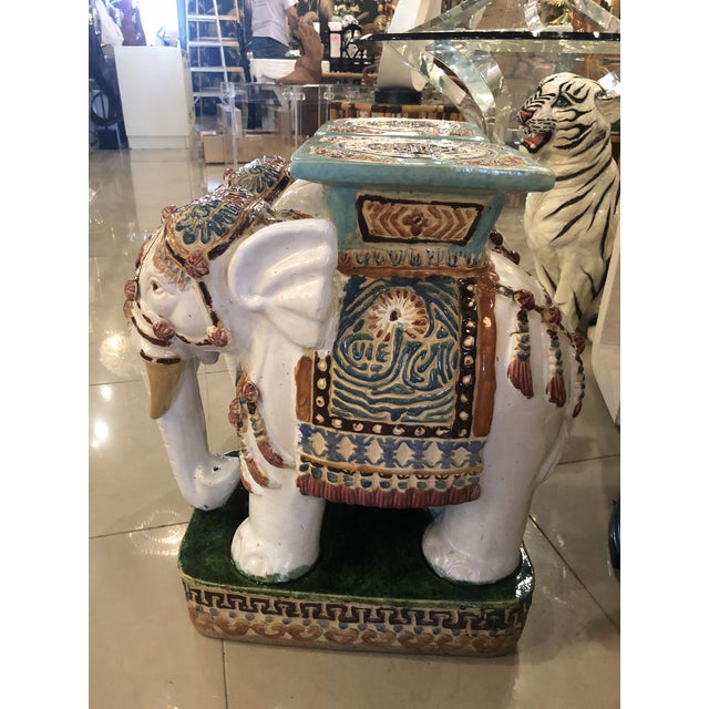 Vintage Hollywood Regency Garden Stools Stands Side Tables Elephants - A Pair For Sale - Image 9 of 13