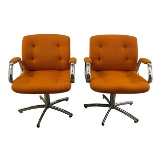 1970s Steelcase Swivel Chairs - a Pair For Sale