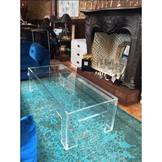 1970s Parson-Style Lucite Coffee Table - Image 5 of 5
