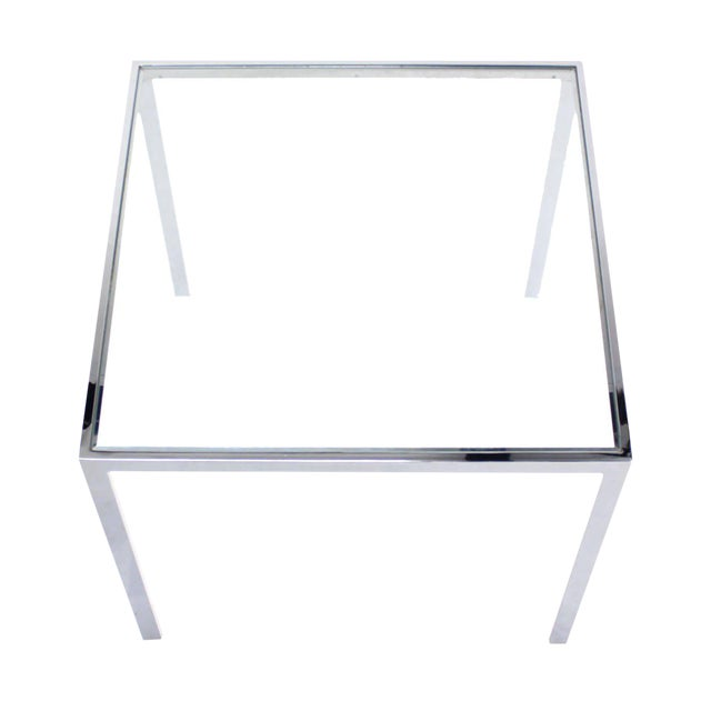 Square Chrome & Glass Side Table For Sale