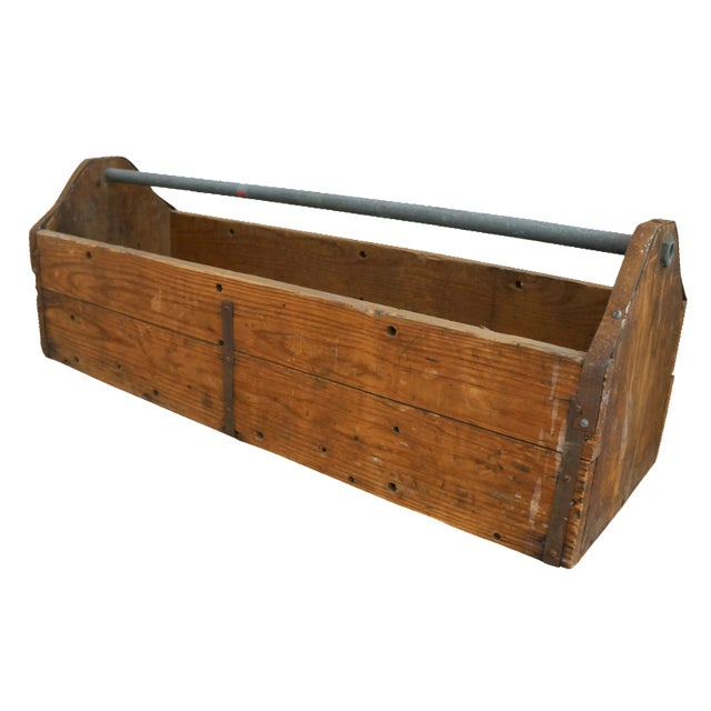 Vintage Rustic Wood Toolbox Caddy - Image 1 of 5
