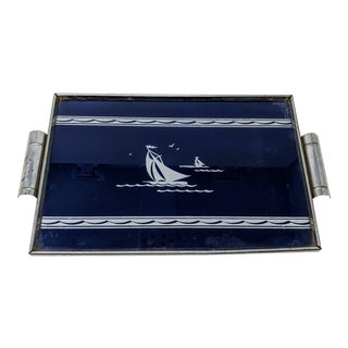 Decorative Navy Blue and Silver Tray With Sailboat For Sale
