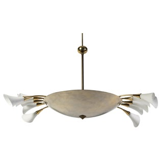 Angelo Lelli Calla Lily & Gilded Brass Chandelier For Sale