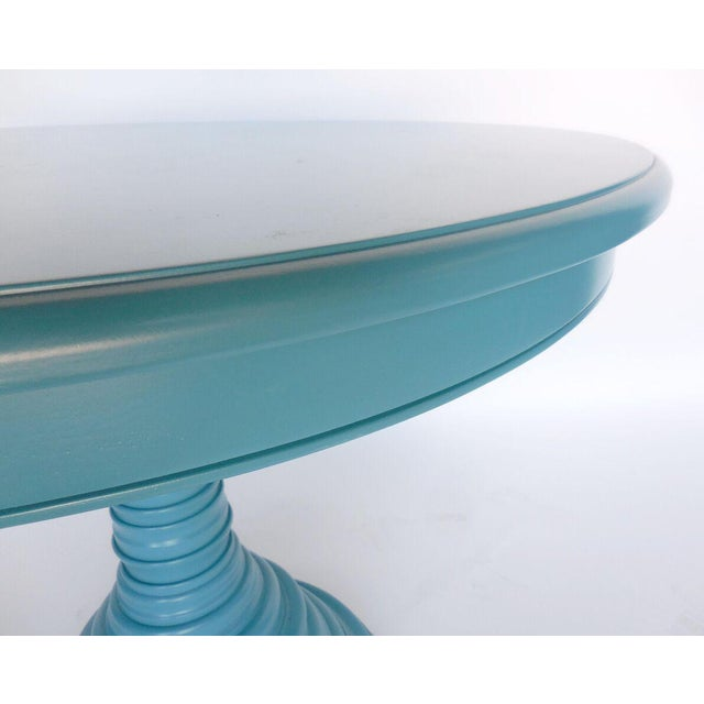 Custom Walnut Wood Round Beehive Base Pedestal Table For Sale - Image 4 of 5