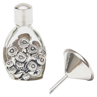 French Deco Sterling Silver and Glass Traveling Perfume Bottle and Funnel For Sale