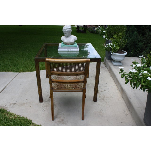 Vintage Modernist Gilt Metal Parsons Table with Thick Glass Top - Image 8 of 10