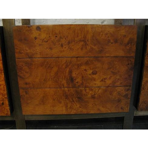 Mid-Century Modern Burlwood, Brass and Glass Wall Unit by John Stuart For Sale - Image 3 of 8