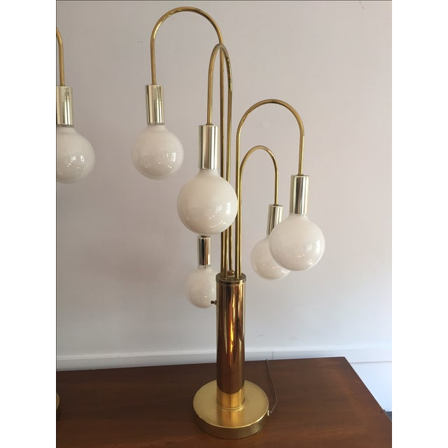 Mid-Century Brass Waterfall Table Lamps - A Pair - Image 3 of 11