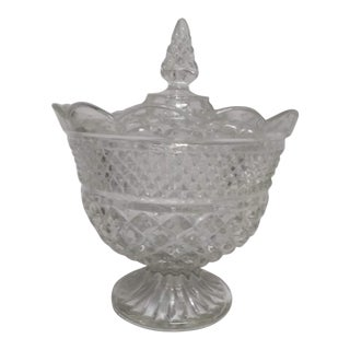 Art Deco Crystal Compote With Lid For Sale
