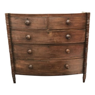 Antique English Mahogany Bow Front Chest of 5 Drawers For Sale