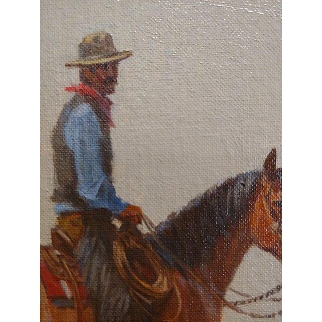 "1968 ""Cowboy"" Western Oil Painting by Nicholas Samuel Firfires For Sale - Image 4 of 8"