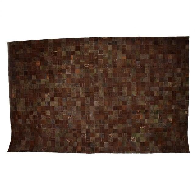 Brutalist Patchwork Cowhide Leather Rug- 8′3″ × 13′2″ For Sale - Image 9 of 9