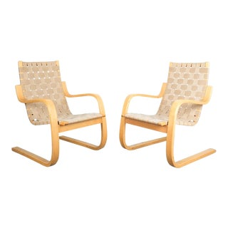 Early Pair of Alvar Aalto Armchairs Chair Model 406 Artek, 1960 For Sale