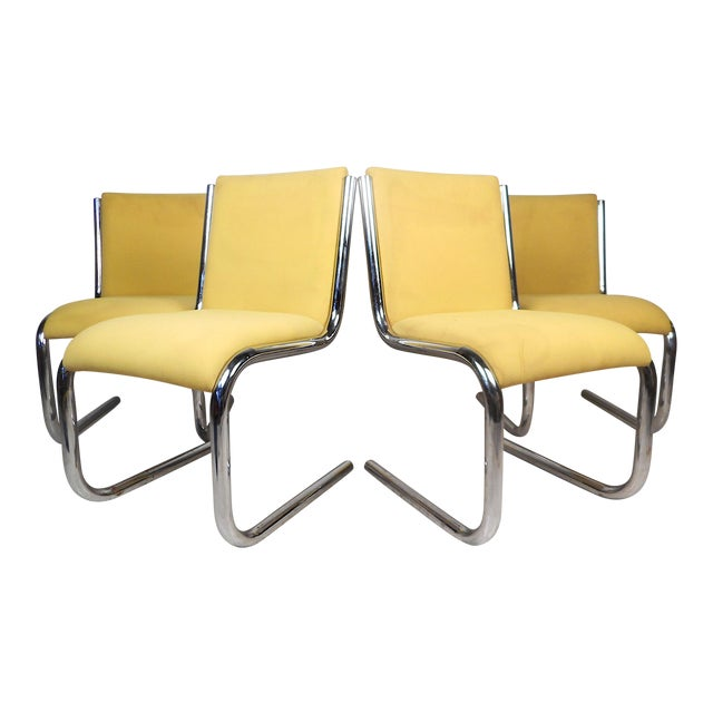 Midcentury Chrome Cantilevered Chairs, Set of 4 For Sale