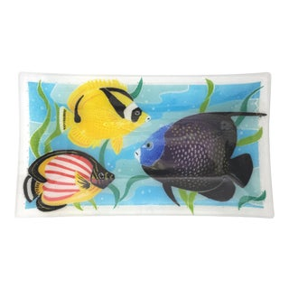Vintage Fused Art Glass Plate Tray W/ Fish For Sale