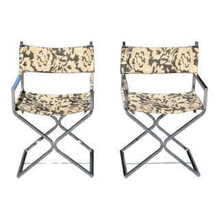 1970s Mid-Century Modern Chrome Directors Chairs - a Pair