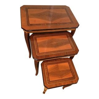 Italian Burled Walnut Nesting Tables - Set of 3