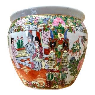 Vintage Famille Rose Medallion Fish Bowl Jardiniere Planter Cachepot For Sale
