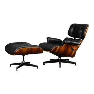 Vintage 670/671 Rosewood and Black Leather Eames Lounge Chair & Ottoman For Sale