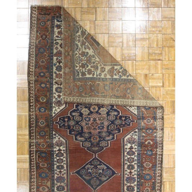 """RugsinDallas Antique Hand Knotted Wool Persian Bijar Rug - 5' X 8'6"""" - Image 2 of 2"""