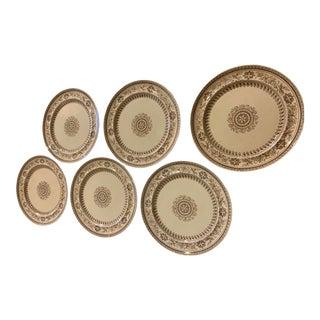 English 19th Century Edge Malkin and Company Transferware Plates - Set of 6 For Sale