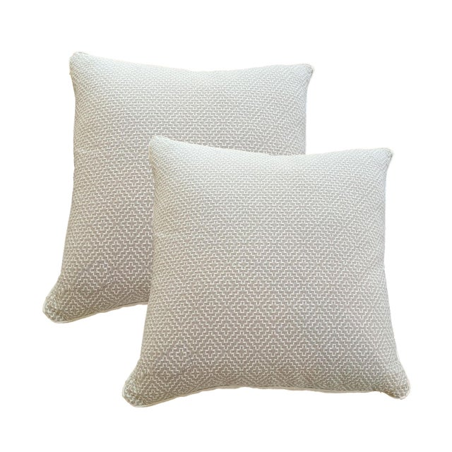 Oatmeal Linen Pillows - A Pair - Image 1 of 6