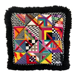 Geometric Abstraction Needlepoint Pillow For Sale