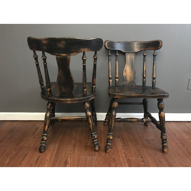 Black Distressed Drop Leaf Dining Table & Chairs - Set of 3 - Image 11 of 11