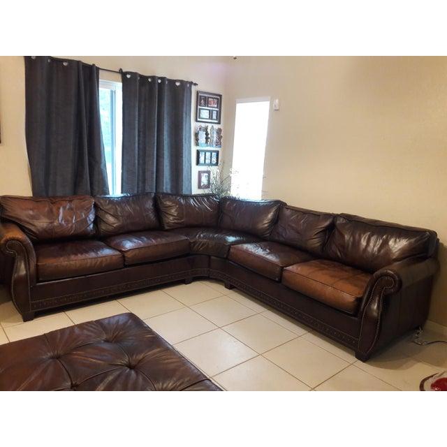 Bernhardt Grandview Sectional Leather Sofa | Chairish
