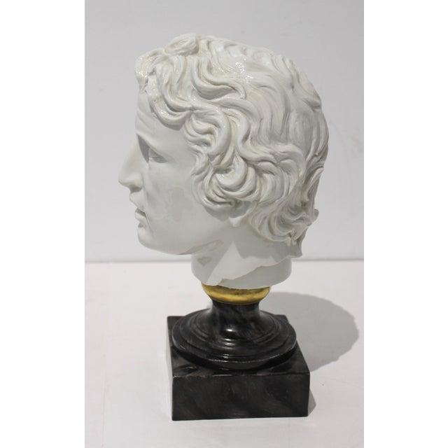 Mid 20th Century Mid-Century Modern Roman Head of Male in White Porcelain on Faux Malachite Stand For Sale - Image 5 of 11