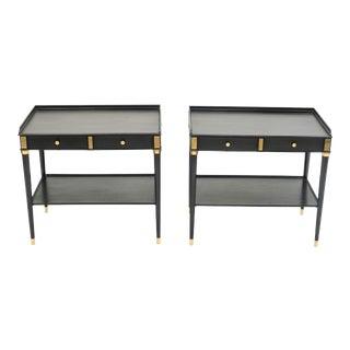 Maison Jansen Black Wood Brass End Tables - a Pair For Sale