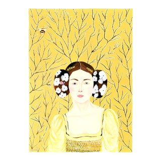 """""""Portrait in Yellow, White Flowers and Bee"""" Contemporary Baroque Style Gouache Painting by Alexandra Swistak For Sale"""