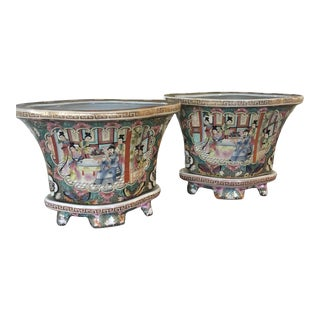 1970s Famille Rose Quatrefoil Chinoiserie Planters - a Pair on Trays For Sale