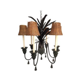 Tole Metal Six-Arm Pineapple Chandelier For Sale