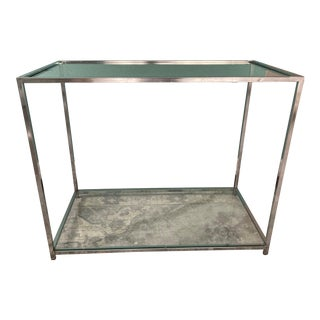 Chrome and Glass Console Table For Sale