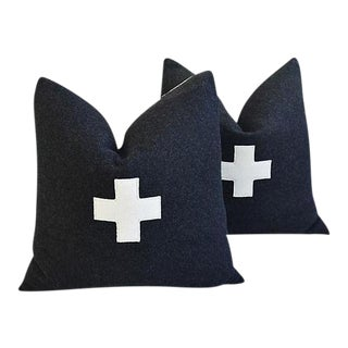 "22"" Custom Tailored Charcoal Appliqué Cross Wool Feather/Down Pillows - Pair"