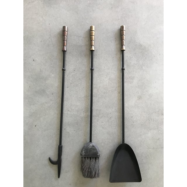 Art Deco Mid-Century Iron & Brass Fireplace Tools For Sale - Image 3 of 5