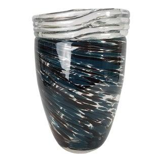 1980s Hand Blown Art Glass Vase For Sale