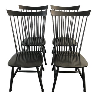Crate & Barel Marlow II Black Farmhouse Style Dining Chairs-Set of 4 For Sale