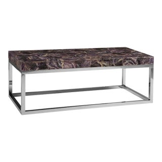 Phillips Collection Amethyst Coffee Table, Stainless Steel Base For Sale
