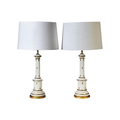 1960s Glass Gilt Accented Table Lamps - A Pair - Image 1 of 4