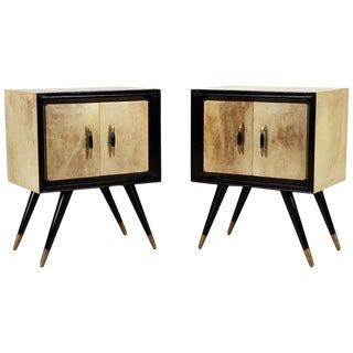 1950s Mid-Century Modern Ebonized Wood and Parchment Side Cabinets - a Pair For Sale
